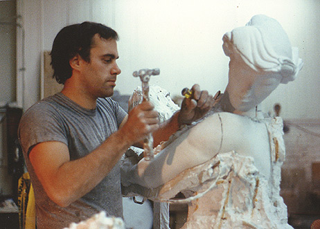 Michael Keropian chipping Albert's Diana out of a mold
